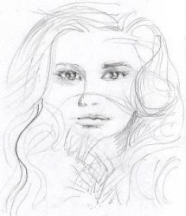 Bleistift-Portraitzeichnung einer schönen jungen Frau gezeichnet im Kunst Workshop Portraitzeichnen, als erste Bleistiftskizze