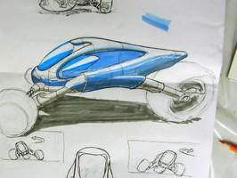 Dies ist eine tolle Entwurfszeichnung eines ultramodernen Motorrades gezeichnet im Mappenkurs der Kunstschule Frankfurt Atelier Irene Schuh