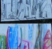 Zeichnen lernen, Frankfurter Skyline zeichnen,  Perspektivisches Zeichnen lernen, Kunstschule Frankfurt Atelier Irene Schuh