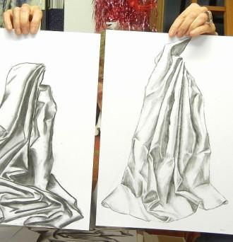 Faltenwurf zeichnen lernen und Zeichnung-mit-Bleistift, zeichnen-lernen-für-Anfänger, Bleistiftskizze lernen in der  Zeichenschule-Frankfurt-Atelier-Irene-Schuh