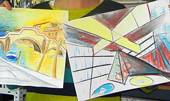 Architektur, Stadtansichten, Kunstschule-Frankfurt-Atelier-Irene-Schuh