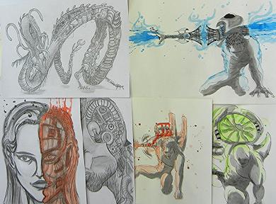 Im Mappenkurs im Atelier lernt man viele Mappentechniken für die Bewerbungsmappe Kunst inkl. Mappencoaching oder für eine Grafikmappe erstellen