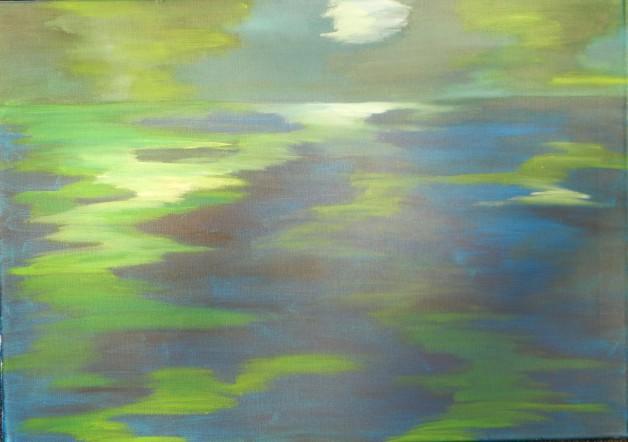Acrylbild auf Leinwand malen lernen in der KUNSTSCHULE FRANKFURT ATELIER IRENE SCHUH