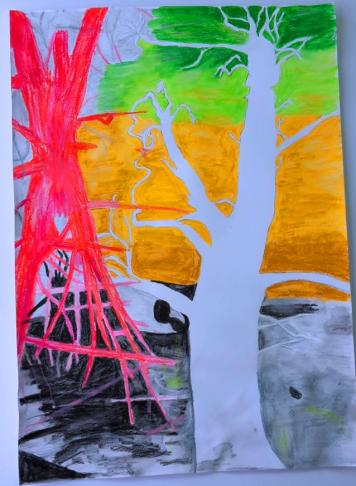 Bäume im Wald Grafik und Kunst gestalten lernen in der Kunstschule Frankfurt Atelier Irene Schuh