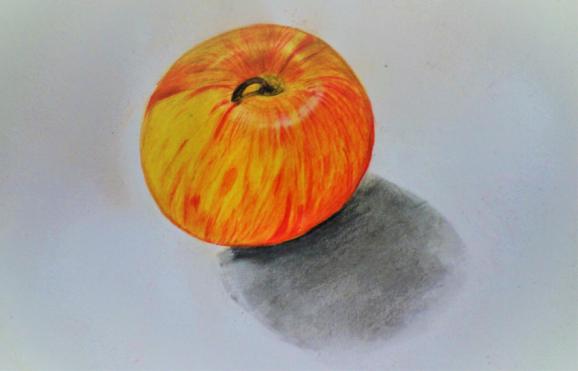 Apfel zeichnen lernen mit Farbe. Zeichenschule im Atelier Irene Schuh Frankfurt