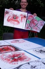Zeichnen im Garten-Atelier der Kunstschule FrankfurtAtelier Irene Schuh, Zeichenkurs unter freiem Himmel