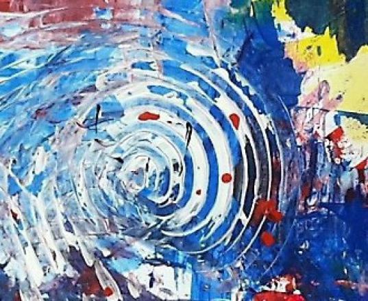 Acryl-Experimente bringen aufregende Momente wie man sieht. Hier mal`n Beispiel  Farb-Komposition aus dem Malkurs der Kunstschule Frankfurt Atelier Irene Schuh