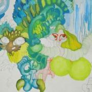 Farbige Illustration von Irene Schuh, Kunstschule Frankfurt Atelier Irene Schuh