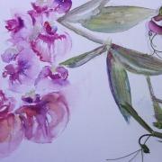 Rosa Blumen malen, Aquarell malen lernen, Kunstschule Frankfurt Atelier Irene Schuh