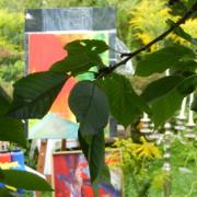 Blick in den Ateliergarten der Kunstschule Frankfurt Atelier Irene Schuh