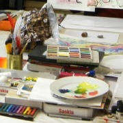 Malmaterial der Kunstschule Frankfurt Atelier Irene Schuh